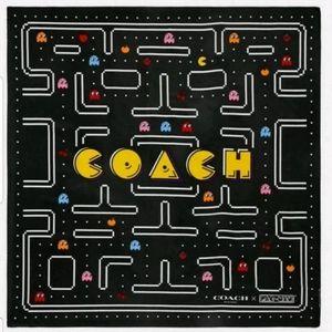 Coach x Pac-Man Ghosts Silk Bandana Scarf Black